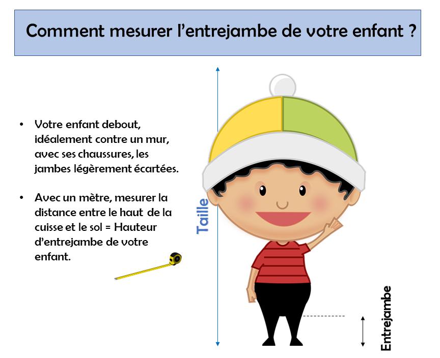 un schéma qui montre comment mesurer l'entrejambe de votre enfant. A faire pour acheter une draisienne adaptée.