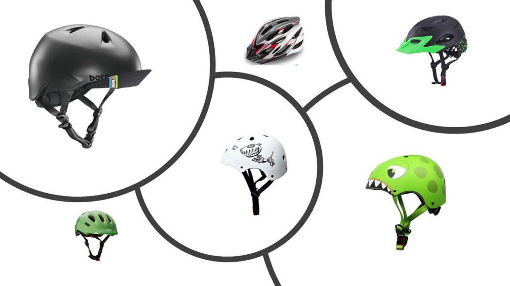 Photo qui montre 6 des 12 meilleurs casques vélo enfant de notre sélection