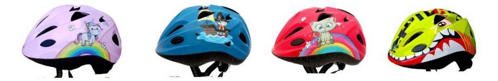 4 modèles différents du casque Meteor pour bébé