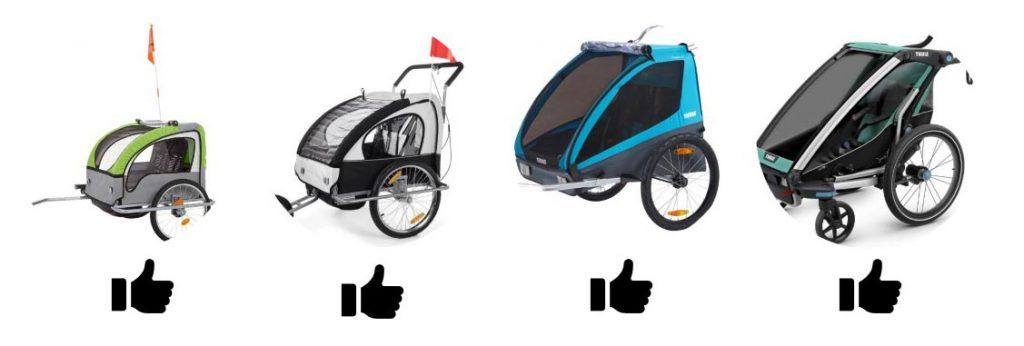 4 remorques à vélo pour enfants de notre sélection